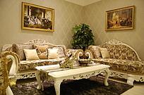 欧式 古典 会客厅 沙发 摆饰