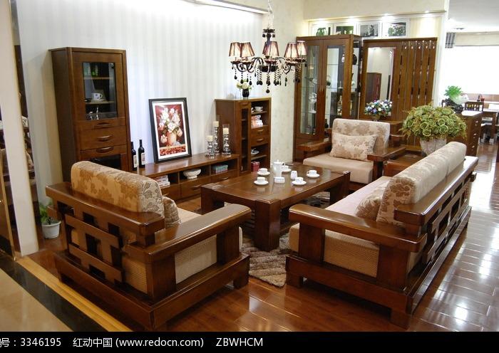实木客厅沙发组合图片