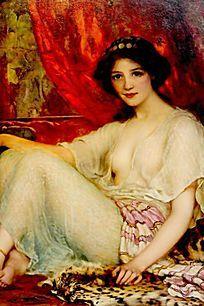油画 坐着的少女