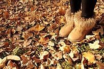 秋天公园的落叶铺成了地毯。脚踩上去软绵绵的
