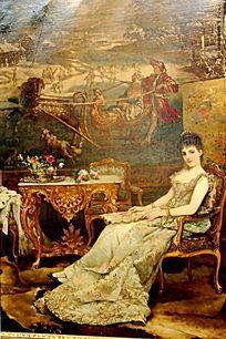油画 坐着的少妇