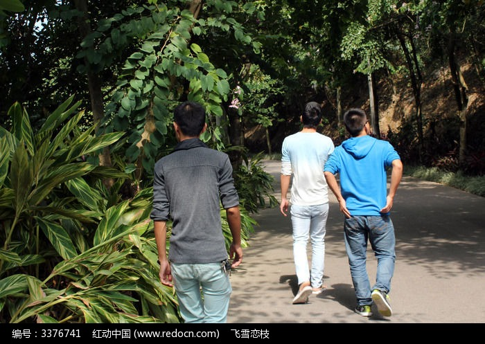 福州森林公园走在路上的三个路人背影