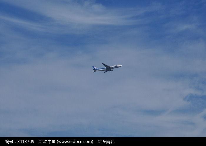 蓝天白云下的飞机图片