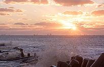 海上日出霞光海浪