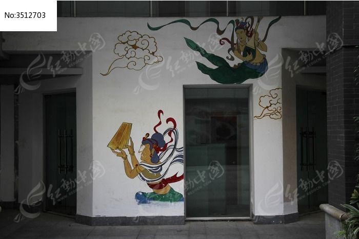 古代人物墙体绘画
