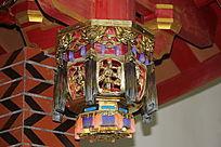 古代屋檐灯笼竹柱建筑