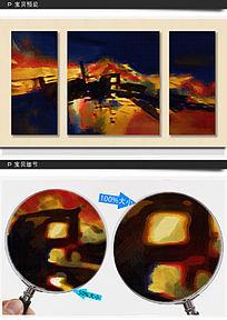 抽象三联油画
