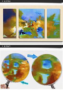 三联抽象无框油画
