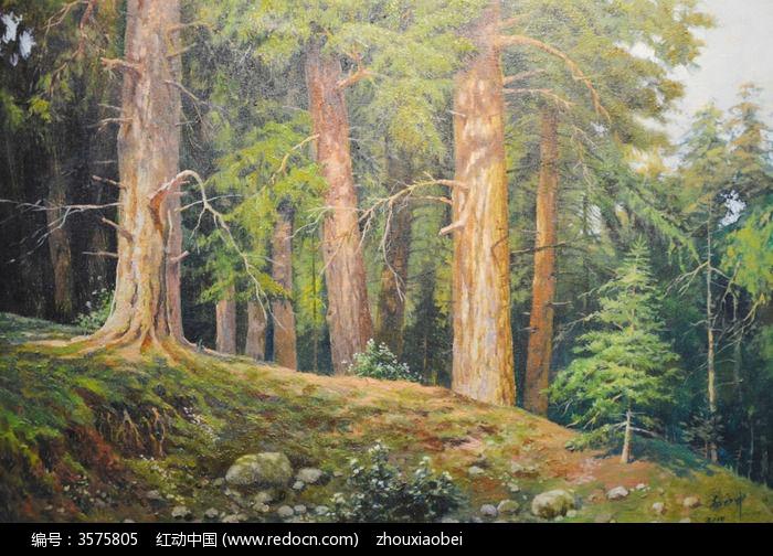 水彩画松树