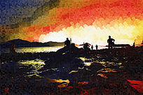 海边看日出油画