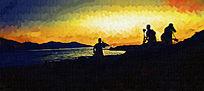 看日落油画