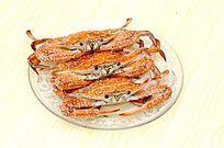 玻璃盘子美味海鲜花蟹特写图片