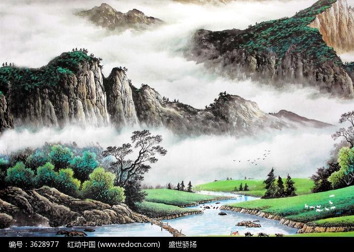 山水画图片,高清大图_插画绘画素材