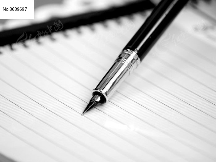 近拍钢笔头黑白图片