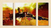 样板间配画 油画抽象 三联画 三拼画
