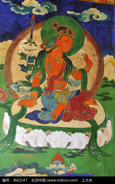 藏族的菩萨彩图图片,高清大图_插画绘画素材
