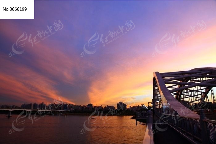 韩国城市夕阳图片