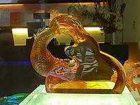 琉璃艺术品跳跃的鲤鱼