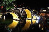 美丽的乌镇桥梁夜景