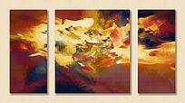三联画 抽象画 无框画 现代装饰画
