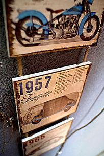 时尚装饰年代木质画板汽车图案