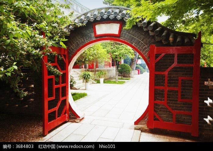 红色拱门图片,高清大图_园林景观素材