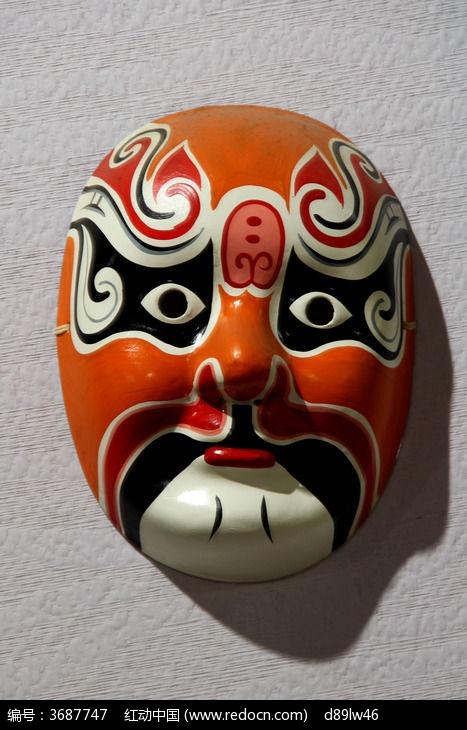 橙色脸谱面具图片