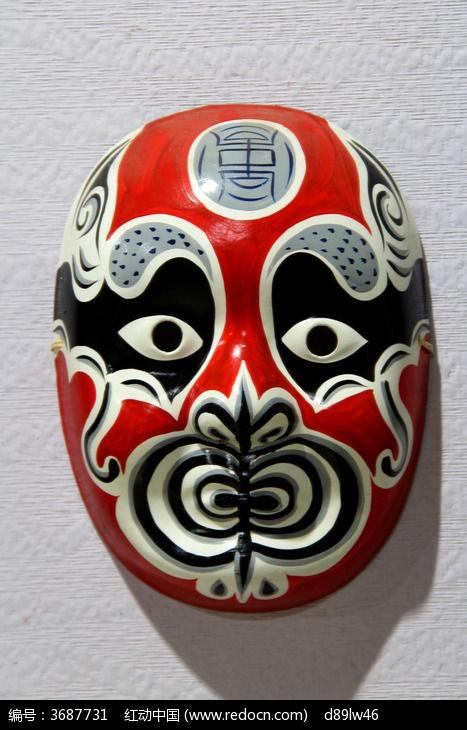 红色脸谱面具图片