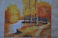 金黄色秋的绘画