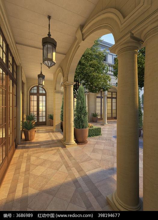 欧式别墅小区走廊图片