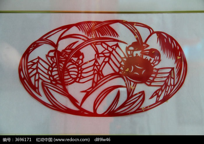 笼子中的螃蟹剪纸图片
