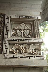 石墙雕刻中式花纹图片