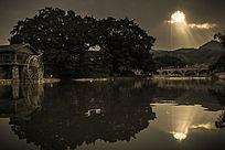 日落时河边的大树远山夕阳水面的倒影