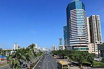 海口珠江广场与滨海大道城市风光