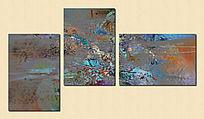 酒店抽象油画 三联抽象画 三联画