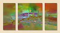 三联抽象画 油画抽象