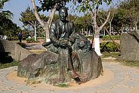 园林里青铜人物雕像摆件