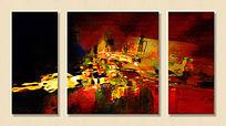 抽象油画 抽象无框画 三联画