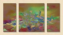 抽象油画 三联画 无框画