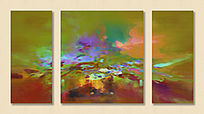 抽象油画 无框画 装饰画 三拼画