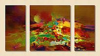 三联油画 抽象画 无框画