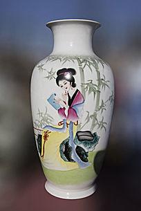 仕女读书图陶瓷瓶