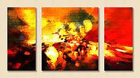 抽象画 装饰画 三联油画