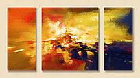 抽象油画 三联抽象画