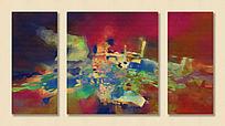 抽象油画 三联 无框画