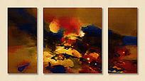 三联抽象装饰画 抽象油画