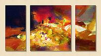 三联画 抽象油画 无框画