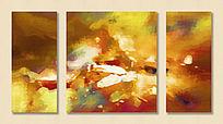 三联油画抽象