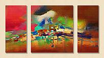 三联油画 抽象画