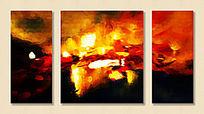 无框画 抽象画 三联油画 抽象